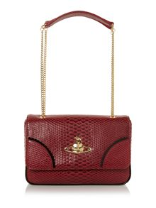 Frilly Snake burgundy flap over shoulder bag