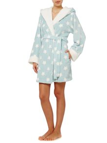 Printed Sherpa Trimed Robe
