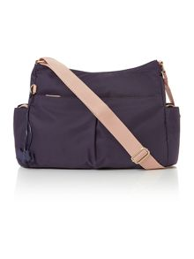 Radley Petersham large navy cross body baby bag