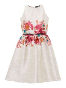 Little Mistress Sleeveless Fit and Flare Jacquard Dress