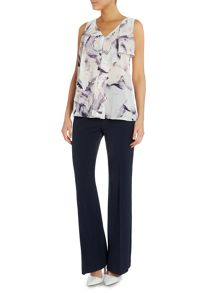 Ellen Tracy Printed sleeveless ruffle front top