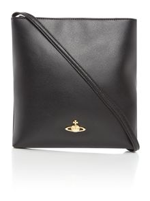 Saffiano black flat crossbody bag