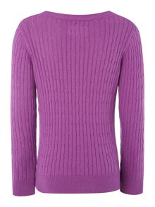 Joules Girls Cable Knit Crew Neck Jumper