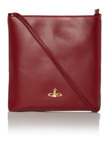 Saffiano red flat crossbody bag