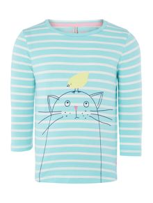 Girls Cat Logo Striped Half Sleeve Top