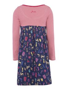 Joules Girls Pony Print Empire Line Jersey Dress