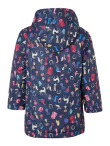Joules Girls Horse Print Waterproof Fleece Lined Coat