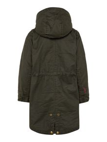 Joules Girls Hodded Sherpa Fleece Lined Faux Wax Parka