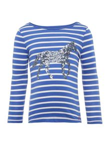Girls Sequinned Horse Striped Long Sleeved Top