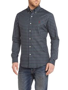 Slim Fit Multi Check Stretch Oxford Shirt