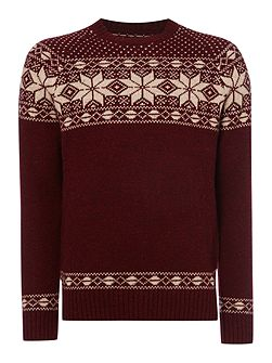 Men's Criminal Max Snowflake Crew Neck Christmas Jumper