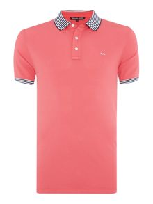 Regular Fit Striped Collar Logo Polo
