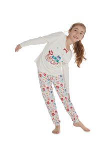 Little Dickins & Jones Girls Owl Pjs With All Over Flower Print Trousers