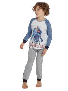 Boys Robot Graphic Pj Top With Trousers