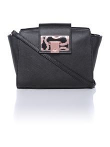 Opio Saffiano black cross body bag