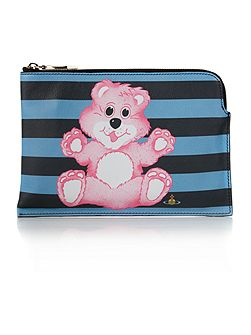 Printed Bear multi coloured pouch clutch bag