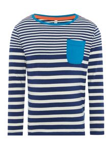 Boys Striped Long Sleeve Top With Contrast Pocket