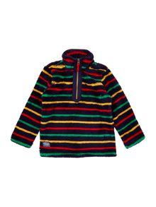 Boys Multi Stripe Half Zip Funnel Neck Fleece