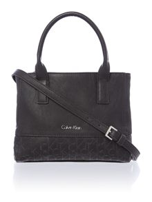 Maddie black mini tote bag with cross body strap