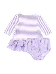 Girls Velour Stripe Dress