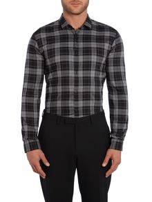 Hugo Ero3 Slim Fit Solid Tartan Shirt