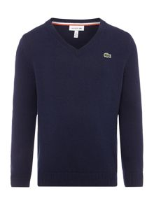Lacoste Boys Long Sleeved V Neck Jumper