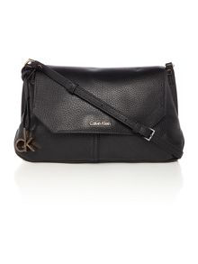 Charlene black flap over cross body bag