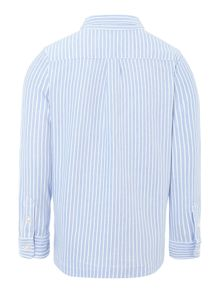 Boys Long Sleeved Fine Stripe Shirt With Small Po