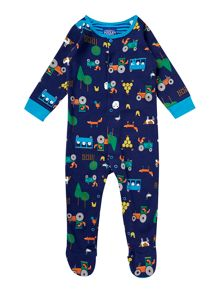 Boys Farm Print Long Sleeved Baby Grow