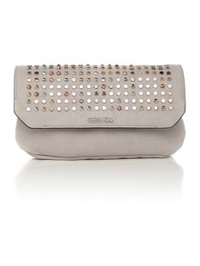 Claire neutral stud clutch bag