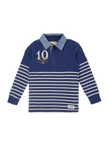 Boys Striped rugby top with chambray collar