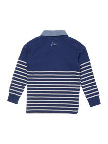 Joules Boys Striped rugby top with chambray collar