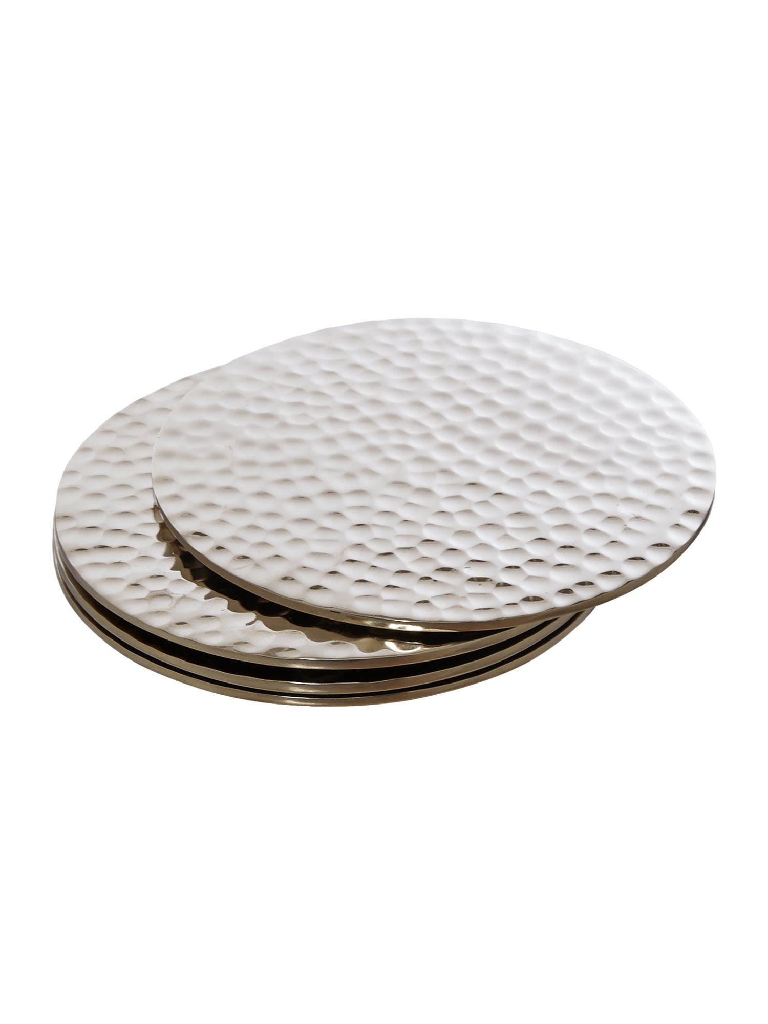 Image of Casa Couture Beaten Metal Coaster Set Of 4