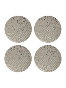 Casa Couture Beaten Metal Coaster Set Of 4