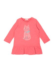 Benetton Baby Girls Cat Slub Jersey Dress