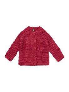 Girls Textured Cardigan With Bow