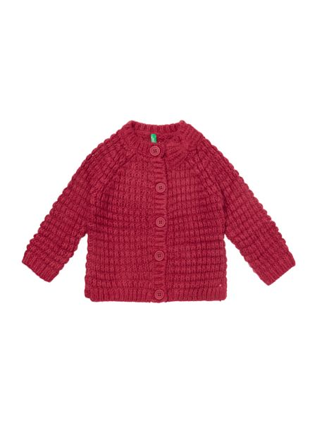 Benetton Girls Textured Cardigan With Bow