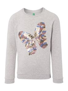 Benetton Girls Long Sleeved Sequin Butterfly Sweat