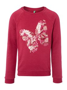 Girls Long Sleeved Sequin Butterfly Sweat