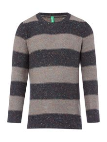 Benetton Boys Bold Stripe Crew Neck Jumper