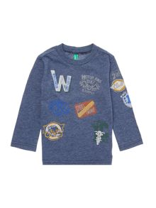 Boys Long Sleeve All Over Badging Crew Neck Shirt
