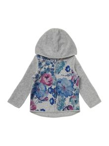 Girls Hooded Floral Front Zip Up Sweat