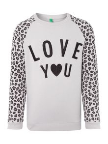 Girls Long Sleeved Love You Leopard Print Sweat