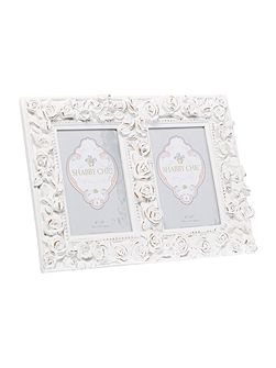 Rose double aperture photo frame