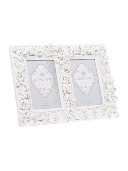 Shabby Chic Rose double aperture photo frame