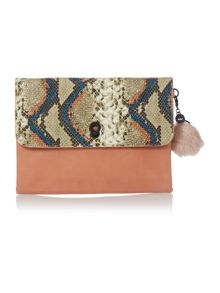 Nica Belita large multi coloured clutch bag