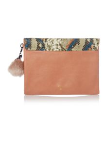 Belita large multi coloured clutch bag