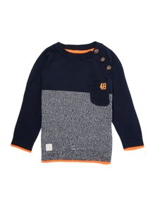 Boys Knitted Contrast Panel Jumper