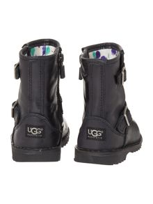 UGG Newborn Hannah Leather Boot With Logo Strap