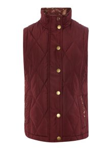 Barbour Girls Country Quilted Bird Print Gilet